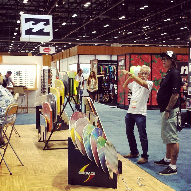 Day 2 of #SurfExpo has begun. Evan's doing a walkabout thru #bikini land and Andy's lonely at 852. Go keep him company.. and get some goodies #grassracks #bamboo #tanks