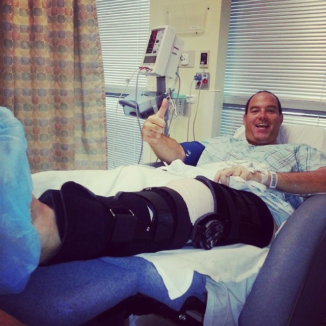 32 days on the #slopes this past season and Jimbo tears his  #meniscus getting off a ladder. Thankful that his #surgery went well and hopeful for a quick recovery before #SurfExpo. #ski #board #snow  #winter