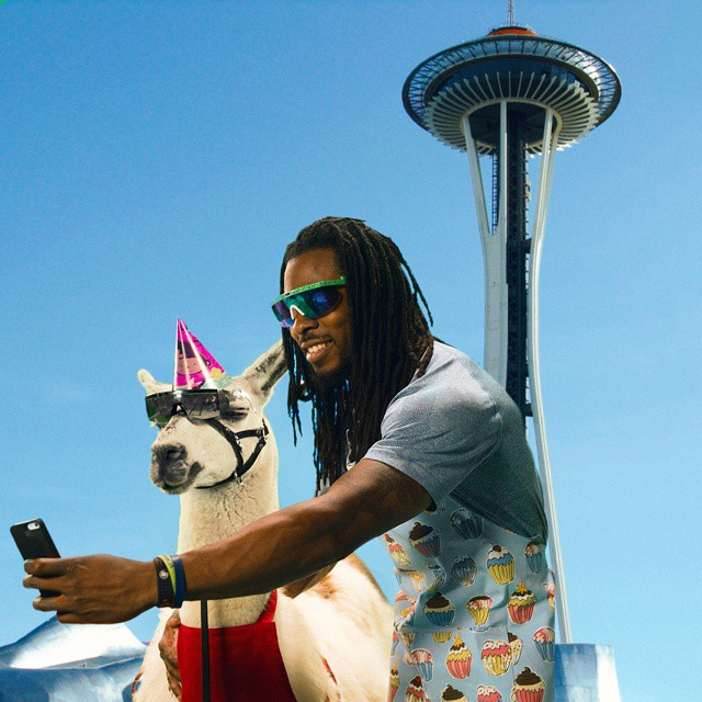 Seattle Seahawks' All-Pro CB Richard Sherman has partnered with @neffheadwear (and his pet llama pal Spartacus) for a signature line of sunglasses.
