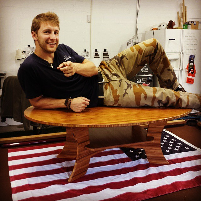 That's right, #ladies (and #gents), we're adding new products to our home #décor line and Evan wants YOU to know. Here you can see our awesome new #coffeetable, soon to be complemented by a few end tables/#surf tables.  There are a few visible and some...