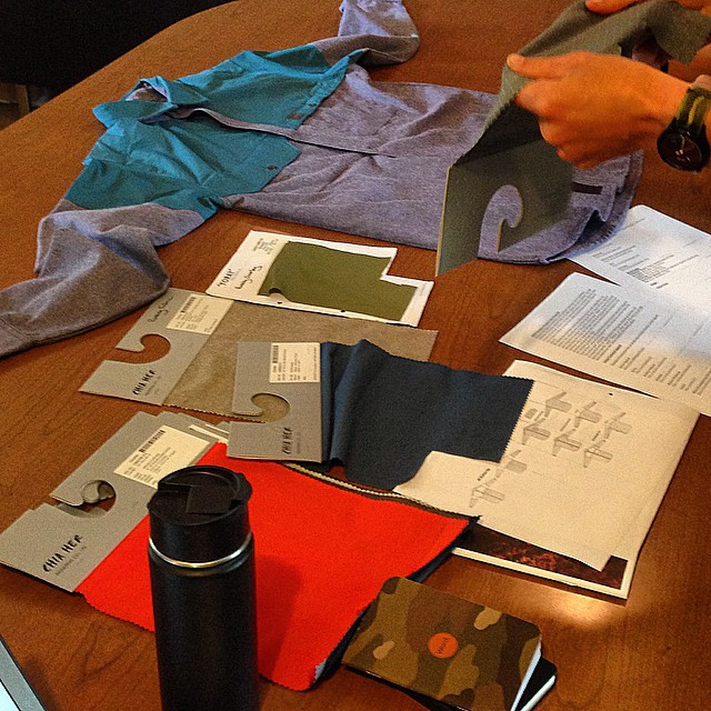 Maintaining high levels of #technylish takes constant devotion.  Fabric discussion for the BC Button Up at HQ.