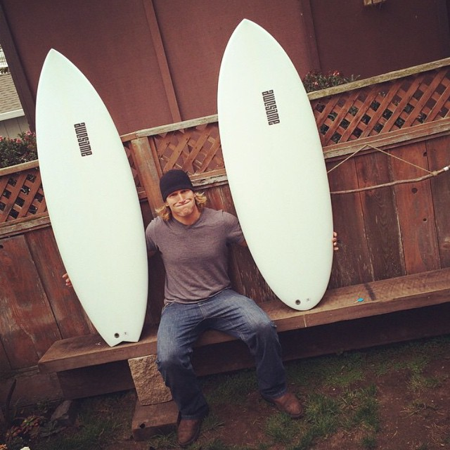 new sleds for Chris. 5'6 Clicker proto and a 5'3 peanutter. @tirebasura enjoy!!! thank you for the support  #awesome #awesomesurfboards #surf #surfing #santacruz#madeincalifornia