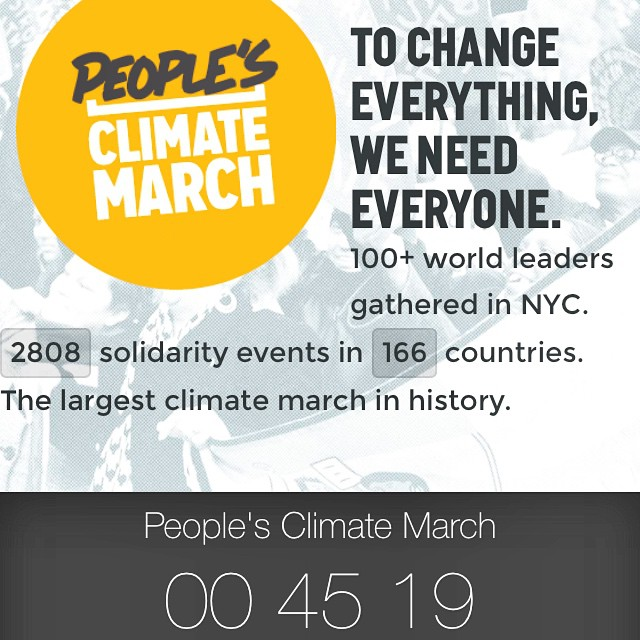 The largest march for #ClimateChange starts soon! Be there w/ @PeoplesClimate to make history + help shape the future!