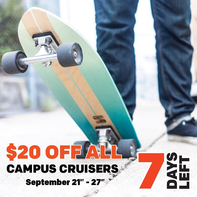 All this week Campus Cruisers are $20 off. Go grab one! #handmade #skateboards #nashville
