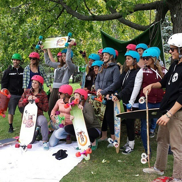 Proud to have been the official helmet of The Chicks on Wheels event in Montreal,  Canada this weekend. @restlessboards @oakley Thanks to @niko_dh for the photo #xshelmets #longboard #skate #chicksonwheels