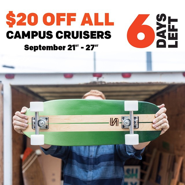Grab a board before they're gone! For the next six days all campus cruisers are $20 off.  #handmade #handmadeskateboards #skateboards #nashville