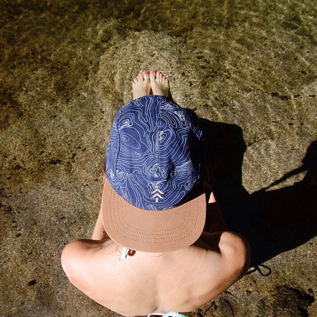 Our water resistant trail topo cap going for a dip in Big Sur. #radparks shot by @shoestringadventures #madeintheUSA #parksproject #getoutsidegetdirty