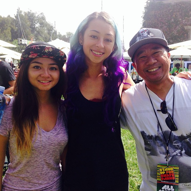 @allyshabergado, @lizziearmanto and @adriandemain at @tonyhawk's #StandUpForSkateparks event yesterday. These three will be standing up for #EXPOSURE2014, too. Actually, Adrian will most likely be sitting because he's judging.