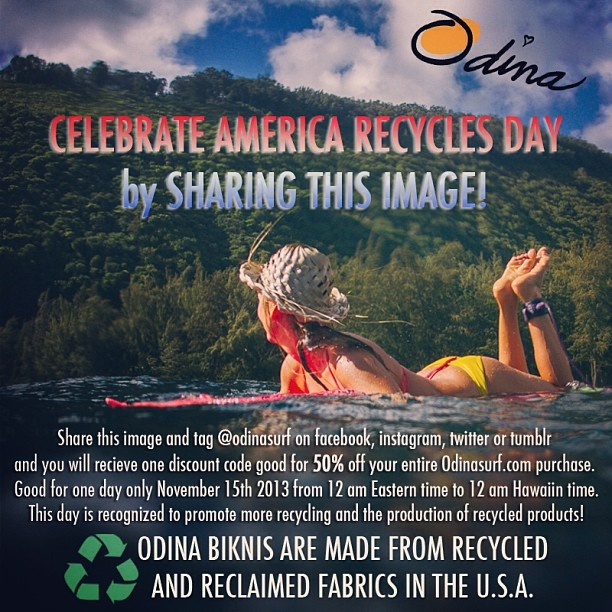 50% OFF ONE DAY ONLY! #Celebrate #America #Recycles Day! #Share this #image and tag @odinasurf and you will be messaged with a special #discount #code to get 50% off your entire purchase from odinasurf.com. Good for only November 15th 2013 only. Email...