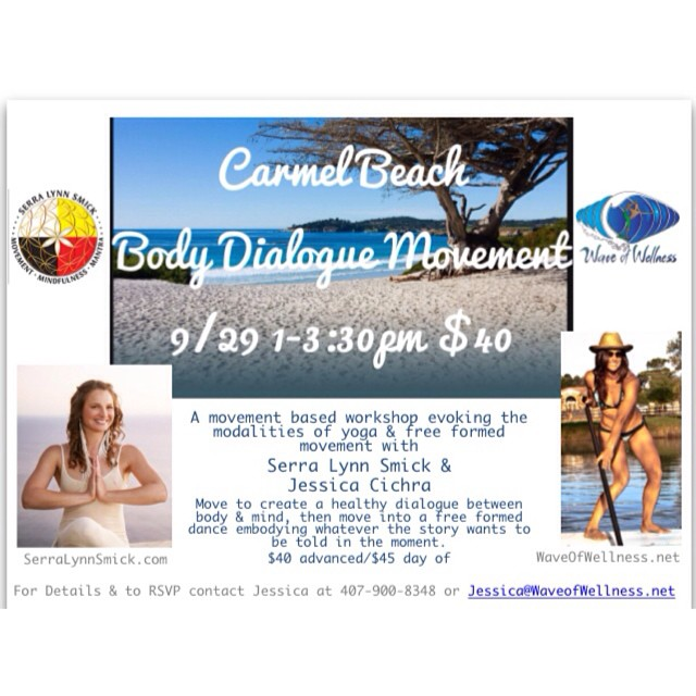 We are excited to announce the Body Dialog workshop by Jessica Cichra @waveofwellness and Serra Lynn Smick @serralynnsmick coming up on 9/29! The class is being hosted on Carmel State Beach on 9/29 from 1:00-3:30PM. Dedicate some time to yourself to...