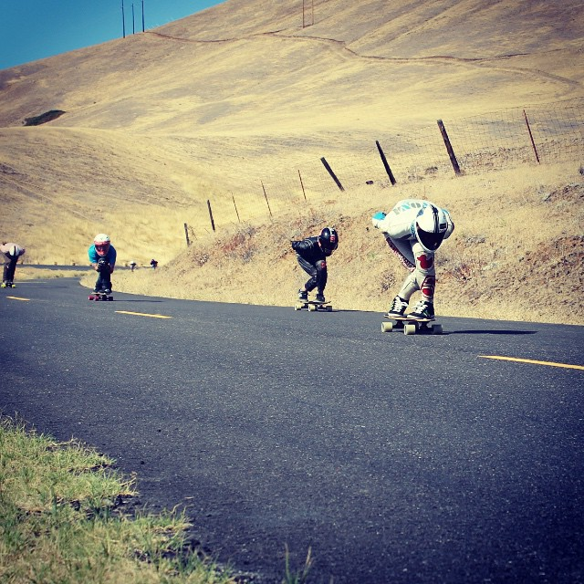 Db was all over the Fall Freeride at Maryhill this past weekend. Here's a shot of team riders @snack_skates and @emmetwhite  tucking the final straight with @doce12_ close behind. All 3 are on Db decks! Photo by: @eridanusmedia  #cloudridewheels...