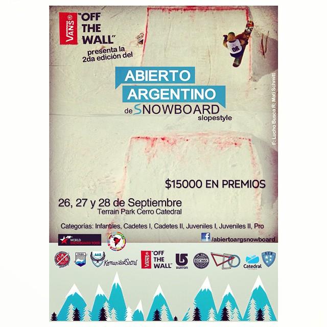 Se viene la 2da edición del Abierto Argentino de Snowboard y vamos a estar presentes como media sponsor