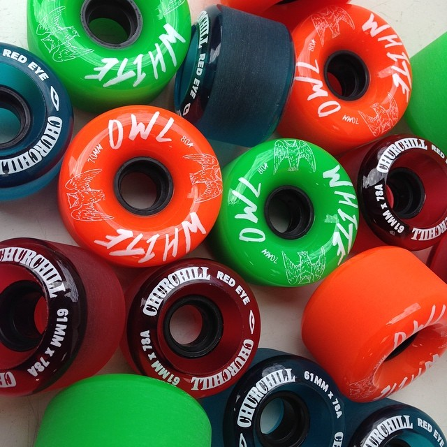 Just in 100% #usa made #churchillmfg white owl slide wheels and #redeye crusier wheels round lips and stone ground #skateboarding #skatelife #longboarding #skateshops #slide #thanelines #downhill #skateboarding #getsome #cruise #cali #butter