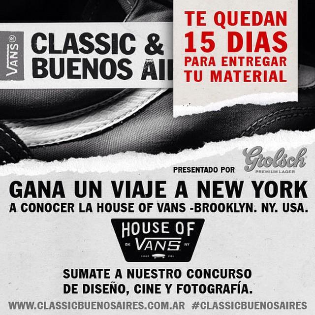 #ClassicBuenosAires ¿Querés viajar a Nueva York y conocer la House of Vans? Anotate en el concurso en la categoría que prefieras (#cine, #diseño, #fotografía). Pero apurate, te quedan 15 días. www.classicbuenosaires.com.ar