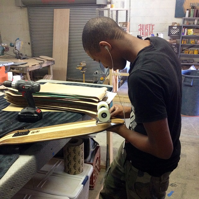 Kendrius in the shop assembling a ton of boards! #handmade #skateboards #nashville #skateandemploy