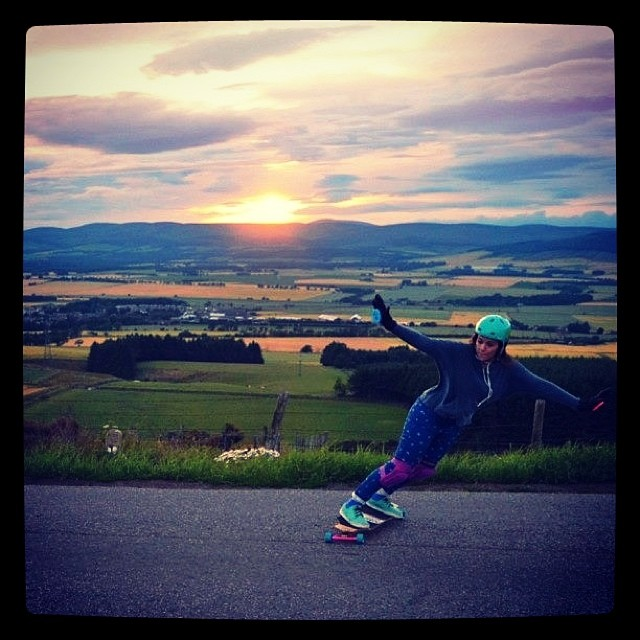 A perfect sunset toeside #LyndsayMclaren #LGCUKPhotoComp #LongboardGirlsCrew #ToeSide