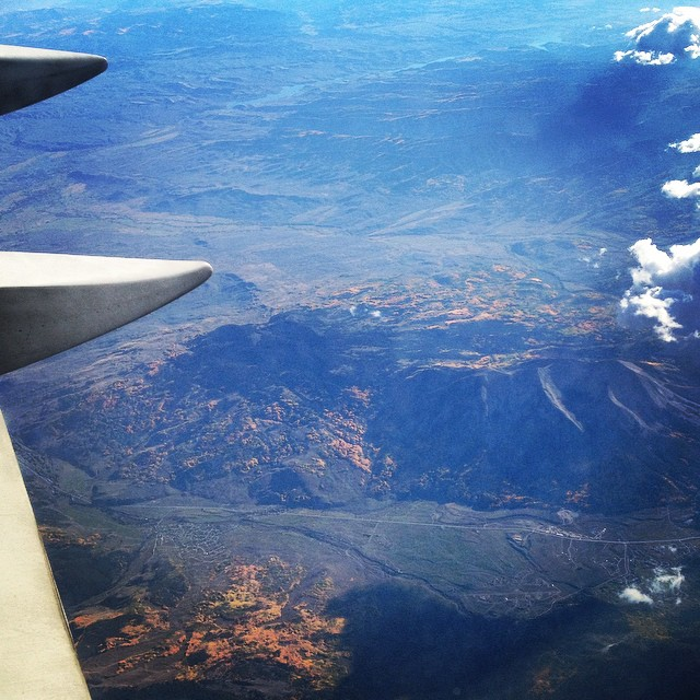 For the first time in my life I am grateful for turbulence - it woke me up as my flight East was flying over the #Rockies and I got to see the golden aspens lighting up #Colorado - brought tears to my eyes #gratitude #beautiful #fall...