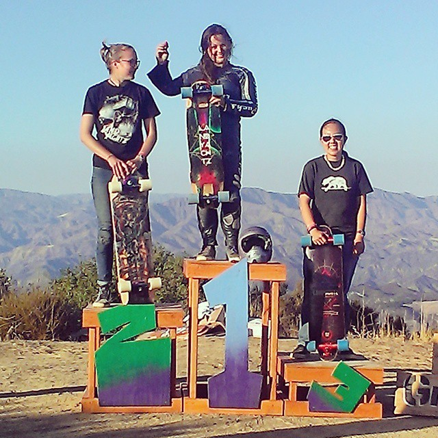 Santa Gnarbara ladies podium from this past weekend! All ladies killed it in some tight racing! @skatebagels first, @lauranocka second, and @flybycai third! #girlsthatshred #longboardgirlscrew @santagnarbara