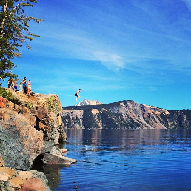 Crater Lake + a cannonball = awesomeness / #radparks shot by @bryanseeee #parksproject #getoutside #promote #protect #preserve #ourparks