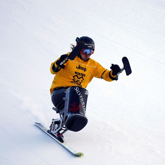#TBT - In 2011, Josh Dueck dominated Mono Skier X, en route to X Games gold.  Our Adaptive Action show airs this Sunday at 4 pm ET/2 pm PT. (Photo via @ESPN_Images)