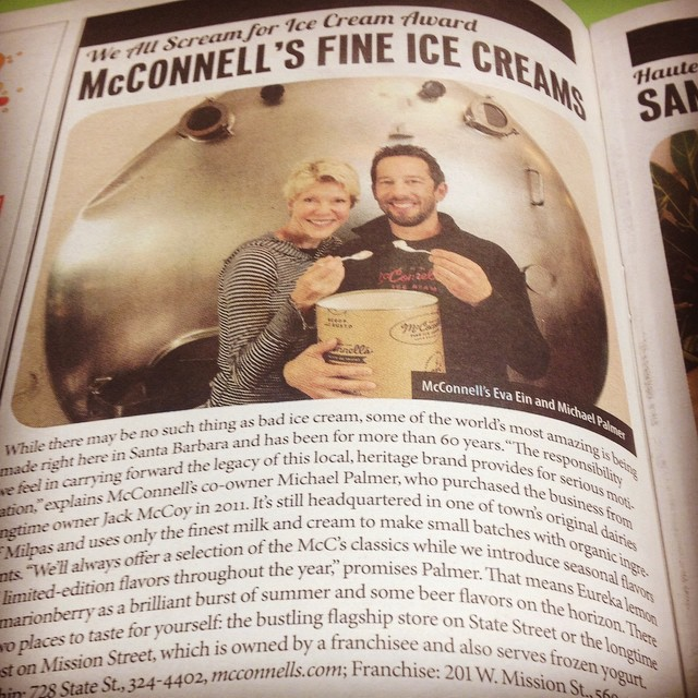 1% members, McConnell's Fine Ice Creams, gettin' a little love in the @sbindependent. If you haven't tried their delectable flavors, head to the store pronto! @mcconnellsicecreams #giveback
