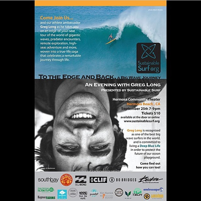 Come out tonight in Hermosa Beach to hear @GregLlong talk about #sustainable living! @sustainsurf and @teekigram and @puresupyoga will be there with @alisonsadventures super #excited