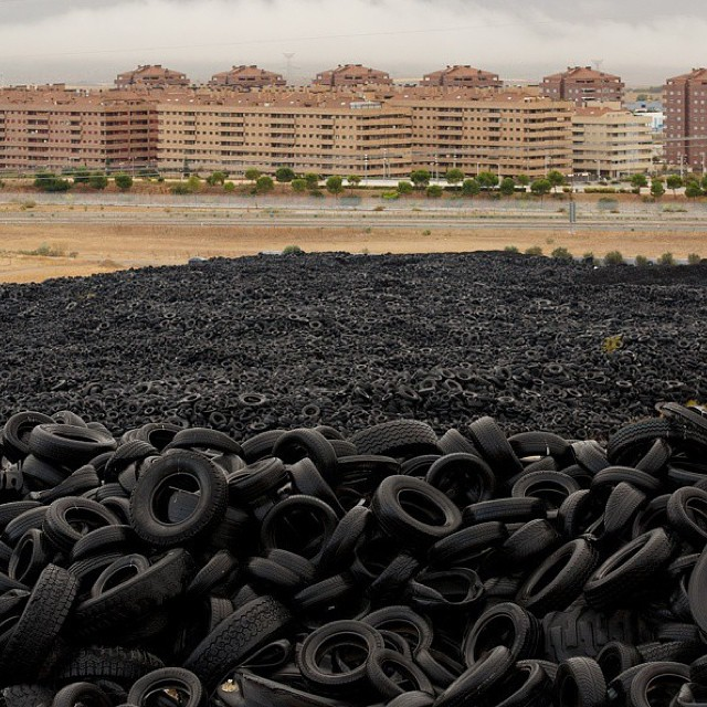 This is why we do what we do, using discarded tires as soles for our footwear - to be part of the solution // this from @nowthisnews about people in Sesena Nuevoa, Spain, tirelessly working to make their city tire-less. This used tire dumpsite is huge...