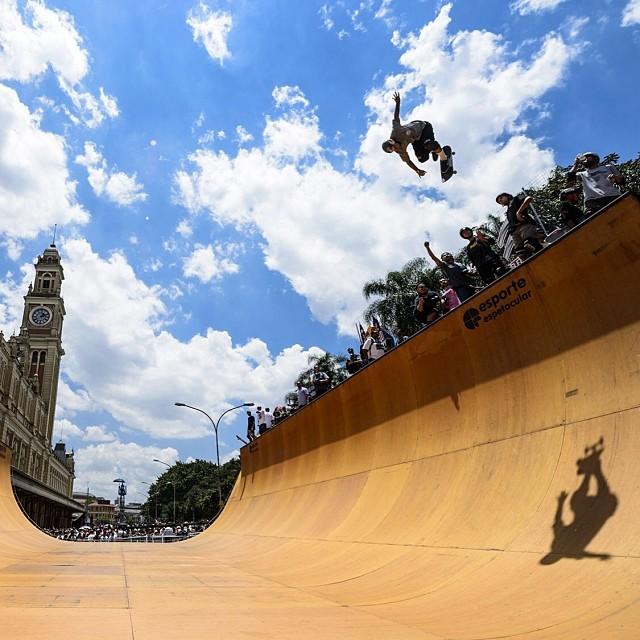 @pedrobarrossk8 at the Red Bull Vert, Brazil. #skate #redbullskate Image: Marcelo Maragni