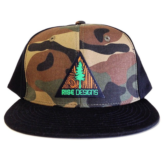Camo/Black Tree Triangle Flatbrim Hat #risedesigns #snapback