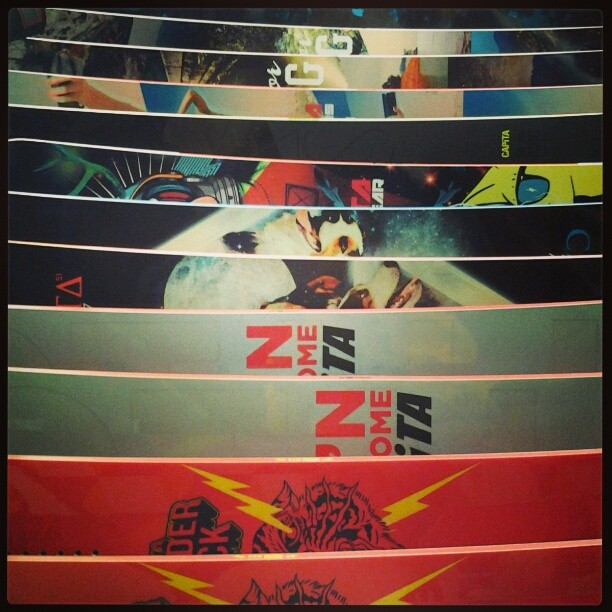 Heavy lineup of @capitasupercorp sticks @satelliteboardshop in Boulder. #staybadass #getone