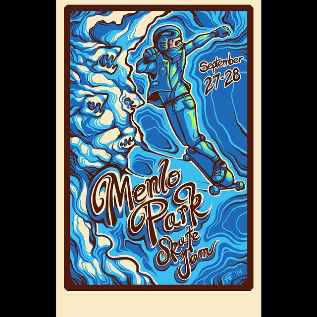 Menlo Park Skate Jam is this Saturday and Sunday! If you are in the Bay Area or Northern California get there!  Poster illustrated by the talented @fillbackside!  #northern #california #skateboarding #sunsetsliders @davidhilbrand