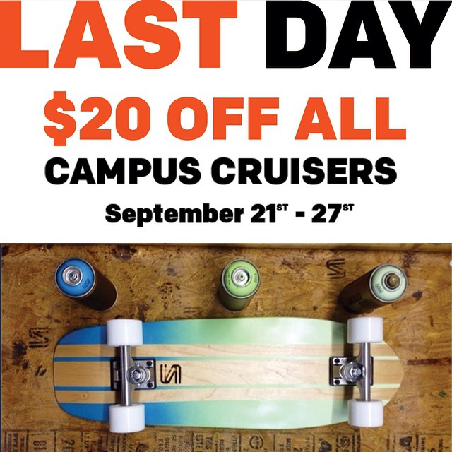 Final day to grab a cruiser for $20 off! There are a lot to choose from over on out site. #handmade #skateboards #nashville