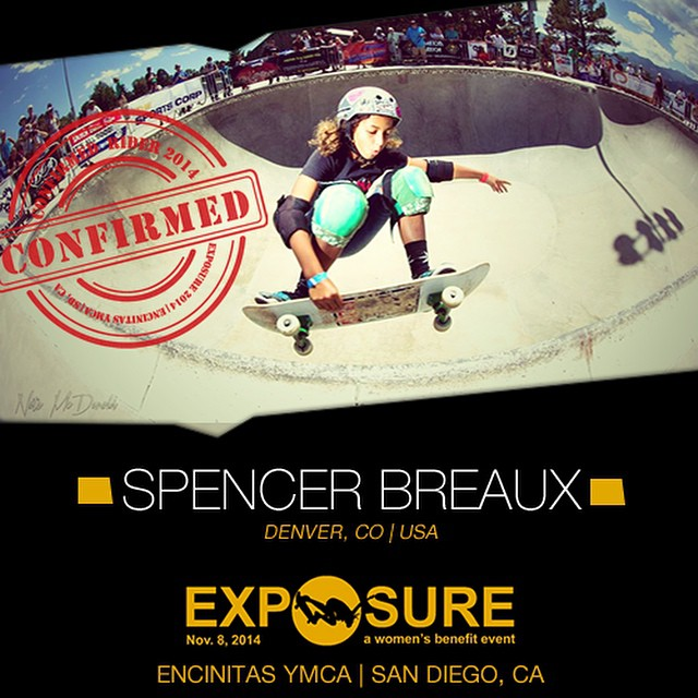 Confirmed for #EXPOSURE2014! -- Spencer BREAUX @smoothierox  Birthplace: Hackensack, NJ Hometown: Denver, CO Resides: Denver, CO Started Skating: 2009 Hobbies: Golf You Might Not Know: Spencer's great at stand up comedy Sponsors: @sillygirlskateboards,...