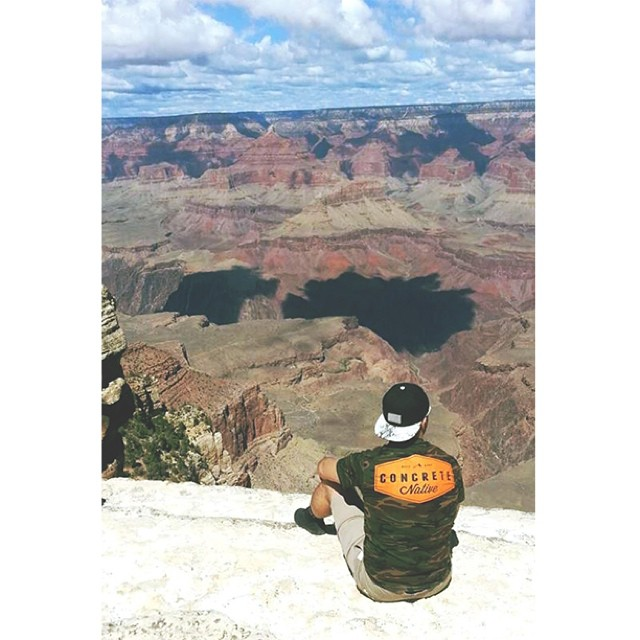 Our friend @2masman reppin the Wattershed Tee on his journey across the States. Blend into your surroundings today and grab one online #camo #concretenative #roadtripgear #USA