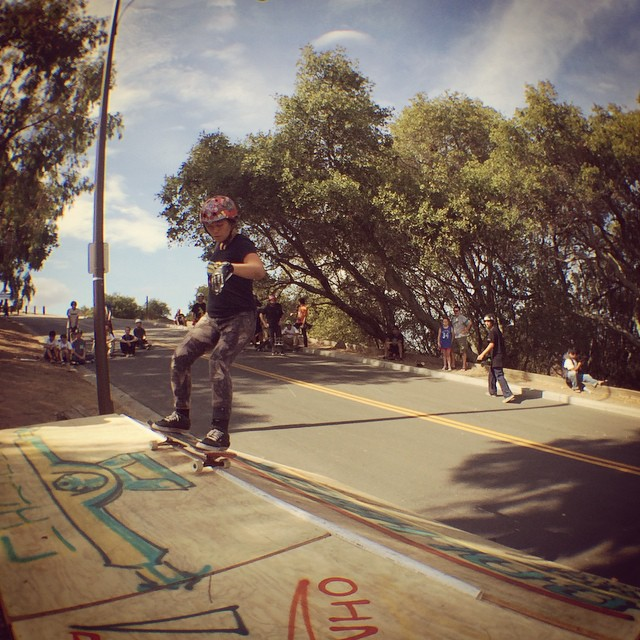 Team rider Yvonne Byers--@yvonzing grinding coping at the Menlo Park Skate Jam!  She is riding the skateboard she has been shaping and it will be available soon!  #yvonnebyers #bonzing #shapers #artists