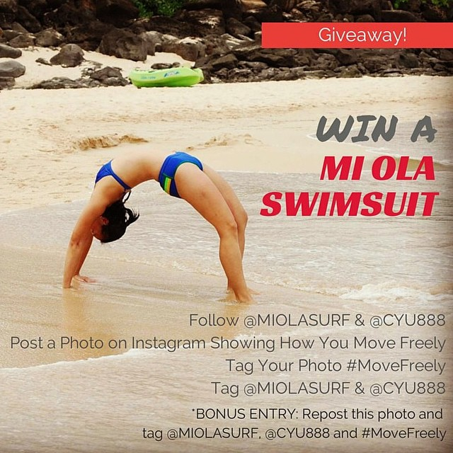 Win a MI OLA suit!!!! Here's how.  #miola #movefreely #getoutthere #bikini #giveaway #surf