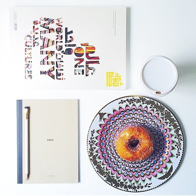 @jamieleereardin flashes us her morning time creative tools: pencil, caffeine, magazine for inspiration, sugar rush, #AllSwell notebook