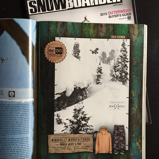 New issue of @snowboardermag just hit shelves. #MindfullyManufactured ad ft: @chrisrasman in the new #RangerJacket and #RangerPant . #Thermosphere @themanboys