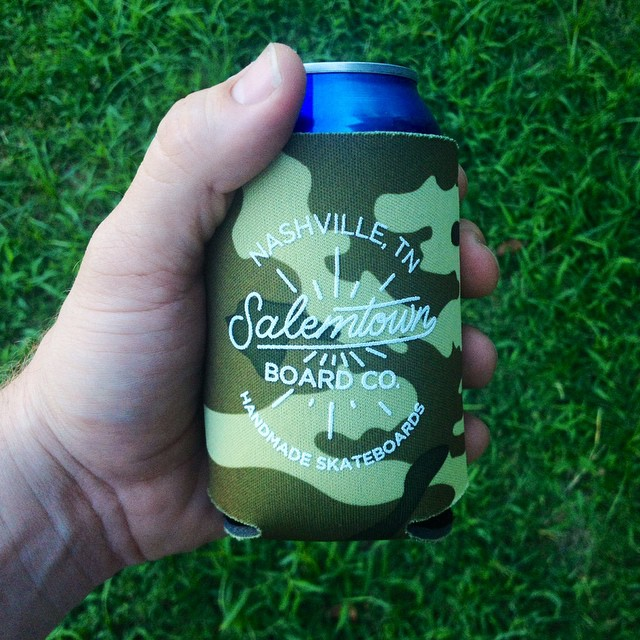 Relaxing after work? Grab one of these koozies to hug your drink of choice. #nashville #salemtownboardco #koozie