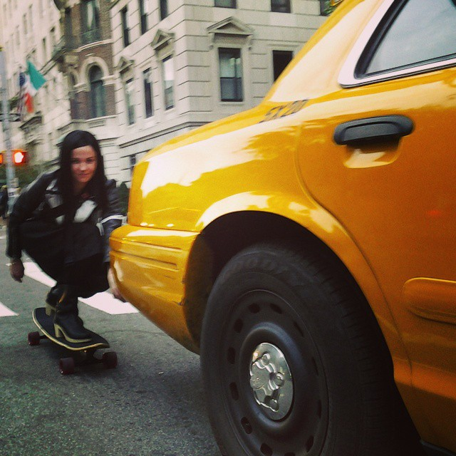 Because upper east side moms skate in heels at 25 mph. #oddmomout #stuntwoman #skatestyle #nyc