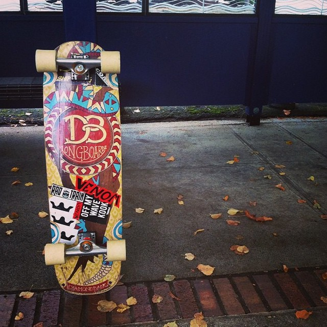 #regram from team rider @speedscientist showing off his chopped diamond back. Looks like an awesome way to get around! #dblongboards #riderapproveddesigns #venombushings #longboarding #longboard #cruiser #campuscruiser #doakickflip
