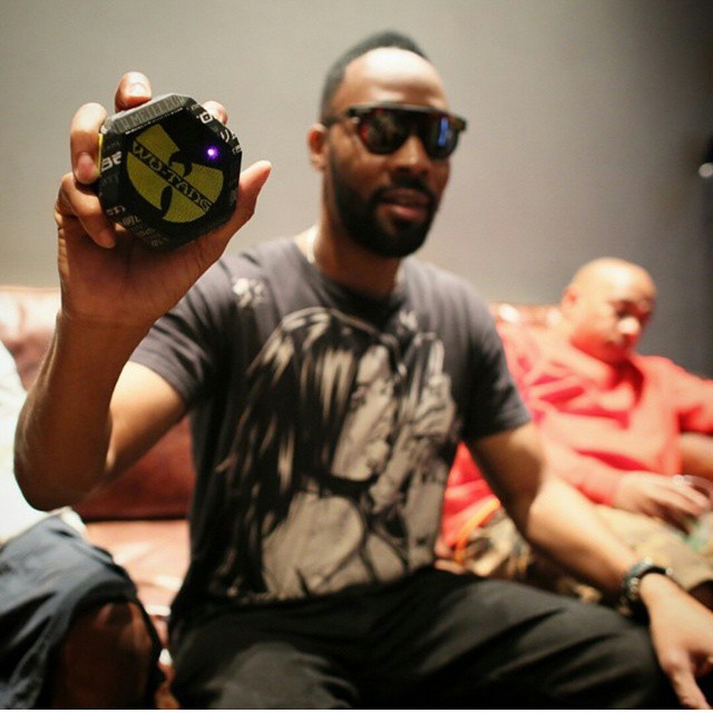 #Rza with the brand new #Wutang @boombotix portable speaker! The new Wu album will be directly embedded into the Boombot that will ship before the album drops. Only 3000 will be made and the last cut will ONLY BE AVAILABLE on the Boombot REX!