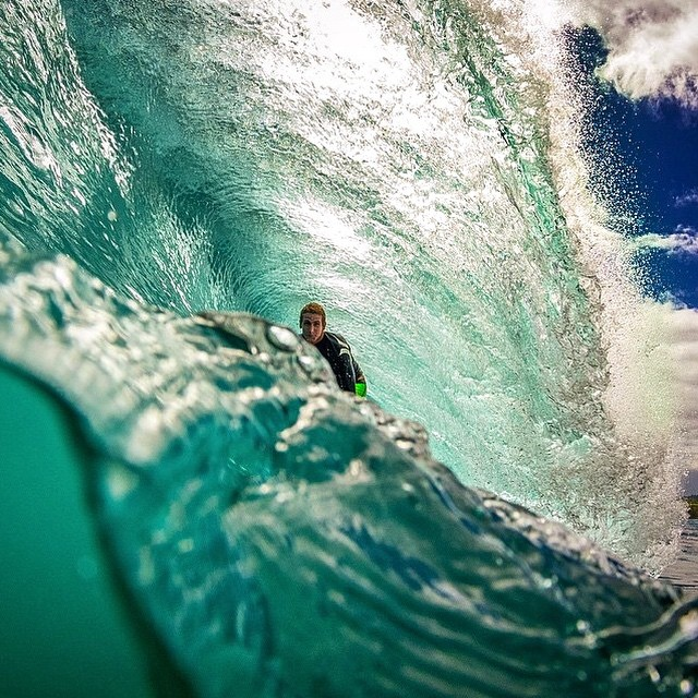 @chadkoga's account is always packed with great pics, like this one of @galts peaking out over the edge #LifesABeach #WheresYourBeach #Kameleonz #GoPro #GoProHaven #Surfing #Hawaii #UnrealHawaii