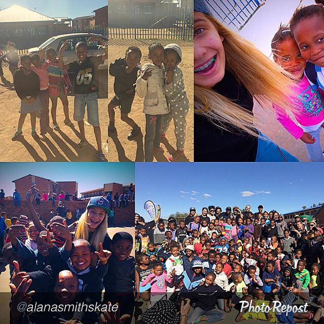 Alana Smith (@alanasmithskate) teaching kids in South Africa how to #skate. Thanks Alana!