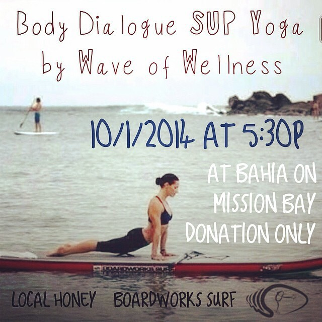 In the San Diego area today? Come down to the Bahia resort in Mission Bay for an amazing Body Dialogue SUP Yoga class at 5:30PM with @waveofwellness and @kathrynmccann!  Try out one of our @boardworkssurfsup new Joyride Flow boards as well!...