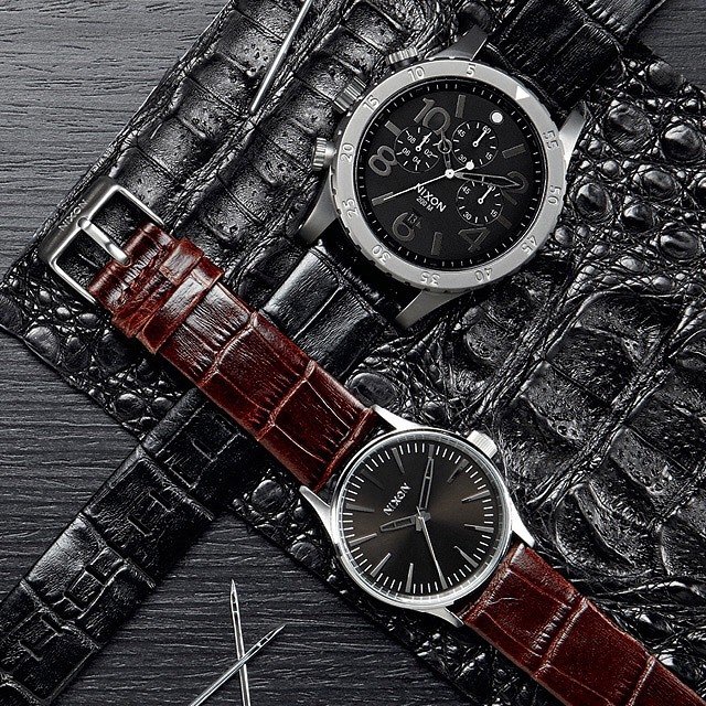 American Alligator, Argentinian leather, because the little things matter most.  Introducing The Gator Collection, new from Nixon. #4820chrono  #thesentry38  #nixon