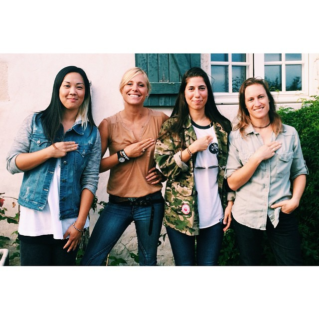 These rad ladies took the pledge to check themselves during the @womeninboardandactionsports conference in Biarritz. Go to the app store and download the 'Check Yourself' app awareness info and monthly check reminder to prevent #BreastCancer. Post your...
