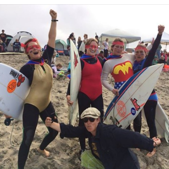 Congrats to the supergirls for taking the title at sloat!  You guys rock! But... I think my after party dance moves were award winning, am I right @lhoell ?? #itaintpretty @biancavalenti #cantquitmydayjob #bestgirlfromohio? #surf #bikini #contest...