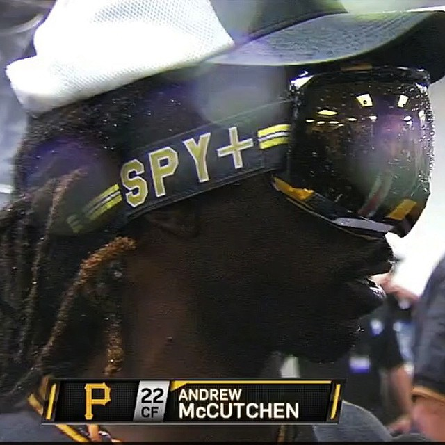 Last night we spotted @thecutch22 running the @eeroniemela Signature Platoon #goggle as the #pirates clinched their spot in the #playoffs.  If you could choose, which team color would you love to see on a goggle?  #SEEHAPPY #buctober