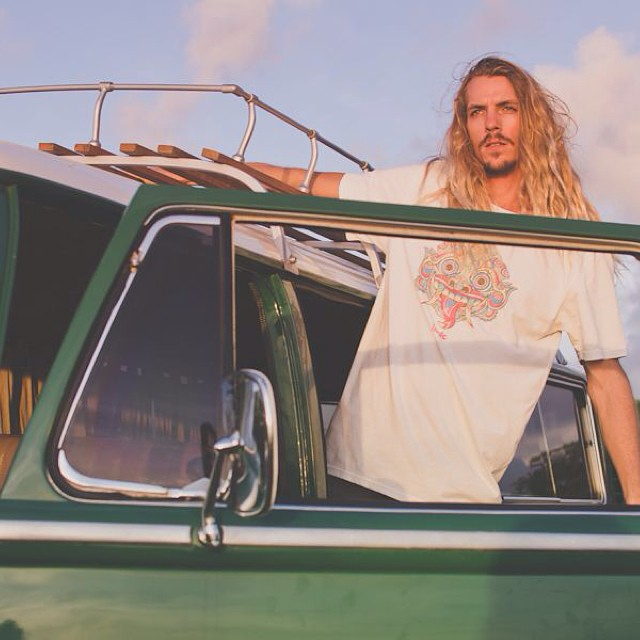 Our Barong Tee's are made from 100% organic cotton and available online // pictured here on @andysixstring #goodhumancrew #balifornia #barongtee #indo #indogoods #organiccotton #vanlife